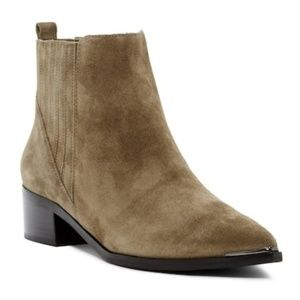 MARC FISHER Yommi Khaki Suede Pointy Chelsea Boot